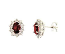 18K WHITE GOLD FLOWER EARRINGS OVAL RED CRYSTAL AND CUBIC ZIRCONIA FRAME 13mm image 1