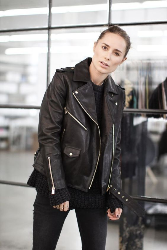 WOMEN BIKER MOTORCYCLE CASUAL SLIM FIT RIDER REAL GENUINE  LEATHER JACKET-A06