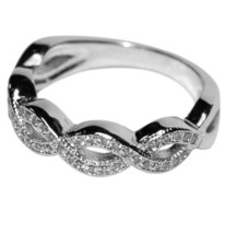 DAINTY PAVE SWIRL CLEAR CUBIC ZIRCONIA ETERNITY BAND RING - $29.99