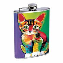 Cat Art Em2 Flask 8oz Stainless Steel Hip Drinking Whiskey - $13.81