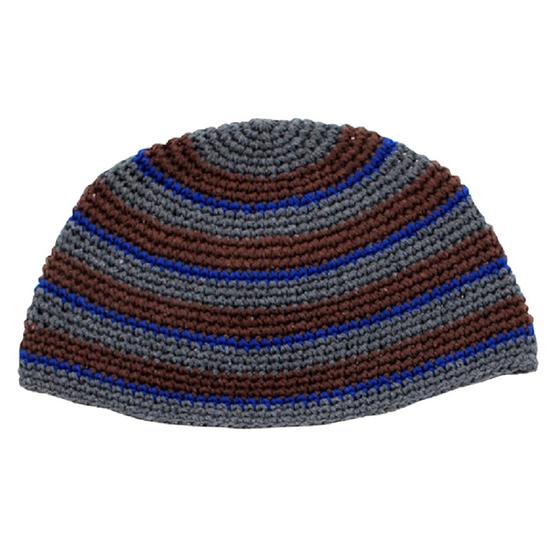 Frik Kippah Skullcap Yarmulke Yamaka Crochet Colorful Dark Striped Israel 26 cm
