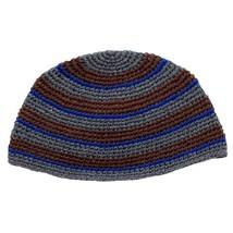 Frik Kippah Skullcap Yarmulke Yamaka Crochet Colorful Dark Striped Israel 26 cm