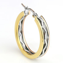 Edgy Tri-Color Silver, Gold & Rose Tone Hoop Earrings- United Elegance image 2