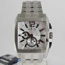 FESTINA WATCH, QUARTZ SQUARE BIG 43 MM CASE BLACK WHITE 5 ATM, DATE, CHRONOGRAPH