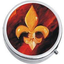 Gold Red Fleur De Lis Medicine Vitamin Compact Pill Box - $9.78