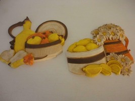 Set of 2 1981 Vintage Syroco Flowers / Fruit Outdoor/Indoor Plaque Wall ... - $22.76