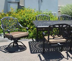 Elisabeth 11pc outdoor dining patio set Santa Clara rectangular extendable table image 4