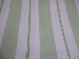 1 Pottery Barn Kids Green Stripe Curtain Panel Lined Cream Off White 44 x 84 - $29.69
