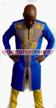 Odeneho Wear Men's Blue Polished Cotton/Gold Embroidery Outfit.African Clothing. - $143.55+