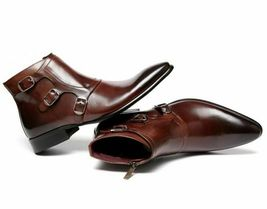 Handmade Men's Brown High Ankle Zipper Triple Monk Strap Leather Boots image 2