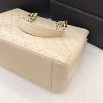 AUTHENTIC CHANEL QUILTED CAVIAR GST GRAND SHOPPING TOTE BAG BEIGE GHW image 6