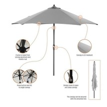 9 ft. Aluminum Market Tilt Patio Umbrella in CushionGuard Pewter - $220.41