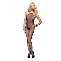 Sexy Women's Black Fishnet Halter Crotchless Bodystocking Body Stockings... - $10.95