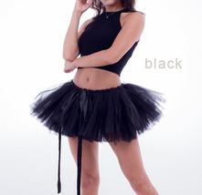 WOMEN MINI TUTU Skirt Drawstring Waist Solid Color Mini Petticoats Balle... - $19.99