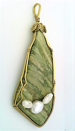 Primary image for Green Jasper Pearl Brass Wire Wrap Pendant 6