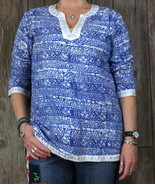 Soho Chic New Blouse L sz Blue White Embroidered Tunic Top Boho Hippy Va... - $19.79