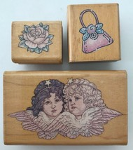 3 Rubber Stamps Dream Angels Delicate Rose Mini Bag Purse Rubber Stampede - $5.94