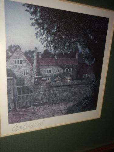 English Tudor Cottage Offset Lithograph Signed By Tom Caldwell