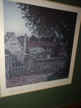 English Tudor Cottage Offset Lithograph Signed By Tom Caldwell image 1