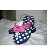 Wonder Nation Toddler Girls Flip Flops W Back Strap Blue Pink Dots Size ... - $9.89