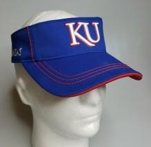 NCAA Adidas Kansas Jayhawks 119208 Curved Bill Blue Sun Visor Hat Adjustable - $8.95