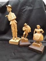 3 Folk Art Wooden Hand Carved Figurines Statue Deschenes Vintage Art Decor - $59.00