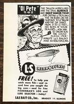 1958 L&S Bait Co MirroLures Print Ad Old Pete Sez - $6.59