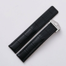 22mm Black Leather Replacement Watch Strap Band Made For Tag Heuer Chronograph - $32.71
