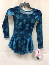 Mondor Model 2762 Girls Skating Dress - Teal Daisy Size Child 10-12 - $90.00