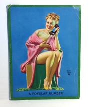 1940s Pinup Girl EARL MORAN Ink Blotter Card A Popular Number Phone Blon... - $9.89