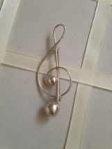 Vintage 1960's Silver Sterling Lang Treble Clef Note Fashion Brooch - $40.00