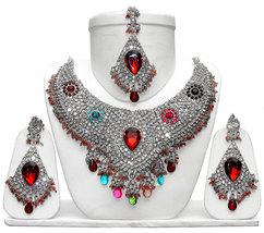 Zicsy Unique Fashion Jewellery CZ Necklace Set With Maangtikka BOMM333 - $38.00