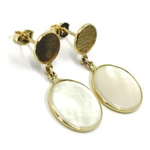 18K YELLOW GOLD PENDANT EARRINGS, FLAT MOTHER OF PEARL DISC, MADE IN ITALY image 2