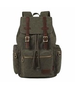 KAUKKO Vintage Casual Canvas and Leather Rucksack Backpack (Navy) - $47.46
