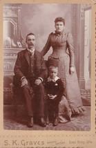 Vtg Cabinet Card Photo - Family Portrait 1890s - K. Graves Photog East T... - $34.95