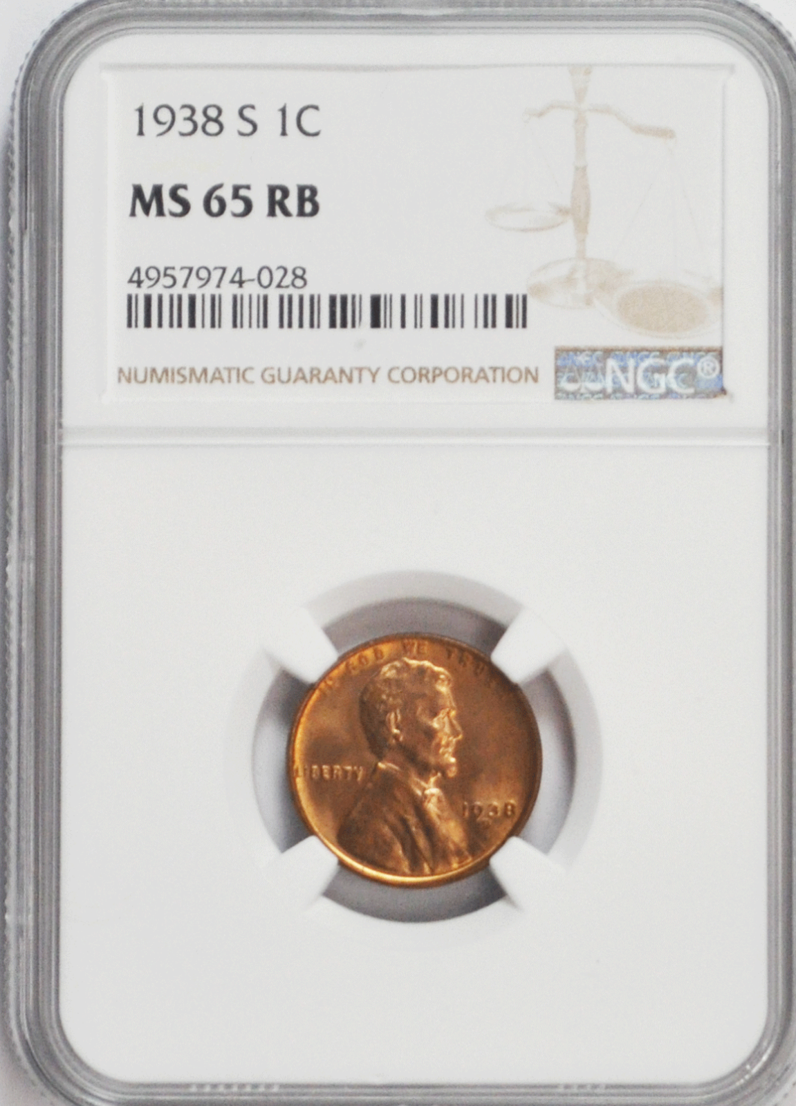 1938 S/S/S 1c Lincoln Wheat Cent NGC MS 65 RB Brilliant Uncirculated Coin FS-502