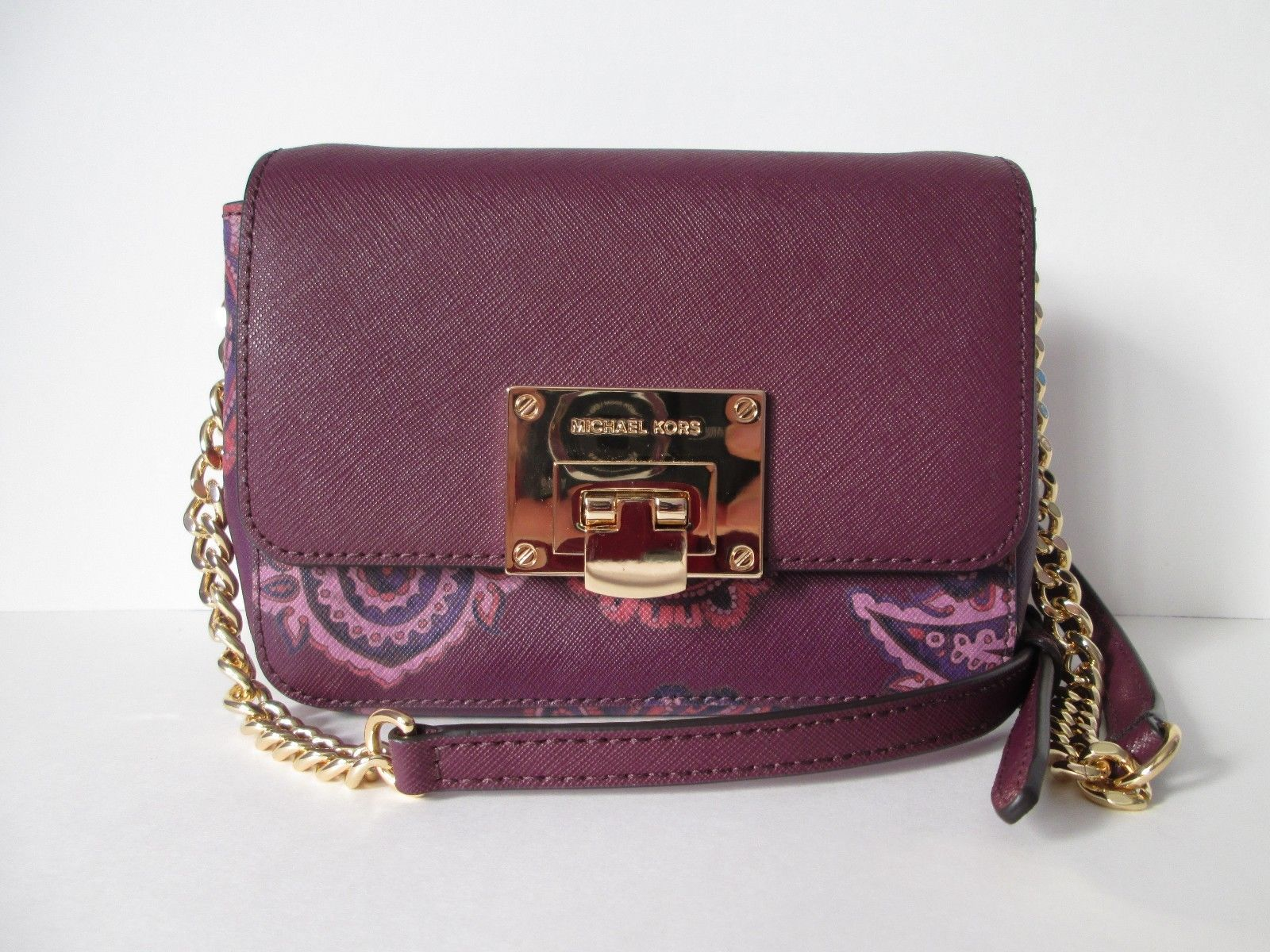 deaf9b284d4c S l1600. S l1600. Previous. NWT MICHAEL KORS TINA SMALL CLUTCH PLUM LEATHER CHAIN  Crossbody Handbag $228