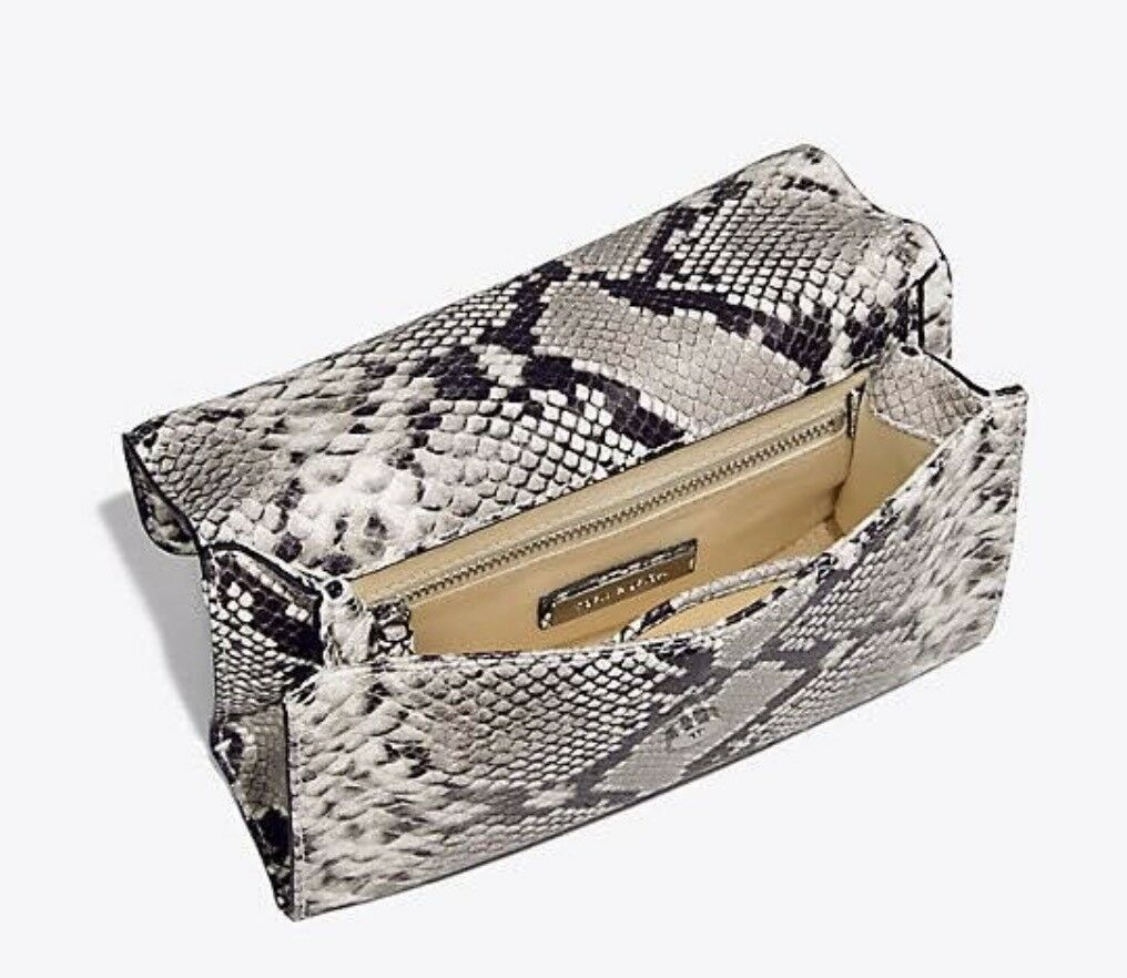 NWT Tory Burch Fleming Embossed Snake Convertible Shoulder Bag New $598