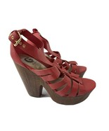 G by Guess High Heels Red Strap Platform Women's Shoes Size 10 M - $24.74