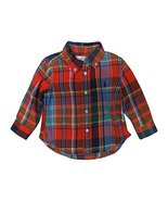 Ralph Lauren Polo Boy's Long Sleeve Flannel Shirt Red Plaid, 9 Months - $38.61