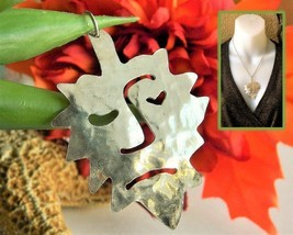 Stylized Leaf Face Green Man Silver Tone Metal Pendant Abstract Nature - $19.95