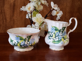 Royal Albert Lily Valley Forget Me Not Cream & Sugar - $17.95