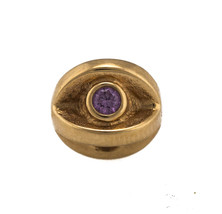 Retired Authentic Pandora 14K 585 Yellow Gold Amethyst Bead Charm - $274.95