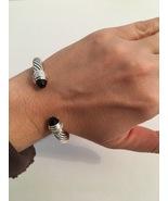 Pre Owned David Yurman 7mm Classic Cable Bracelet Onyx & Diamonds Medium - $595.00