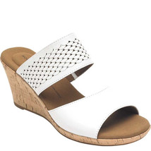 Rockport Women's Rockport Briah 2 Band Wedge Sandals White Leather 9.5 M - $56.99