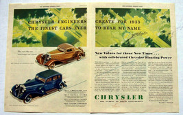 "Chrysler Auto ads 1933 ""signed"" Walter P. Chrysler 2 page ad - $9.99"