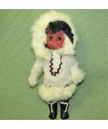 "12"" VINTAGE FUR COVERED COAT LEATHER BOOTS GLOVES ESKIMO ALASKAN DOLL SL... - $9.11"
