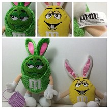 M&M Easter Bunny Plush Lot of 2 Toy Yellow & Green M&M'S Easter Promo Ad... - $14.84