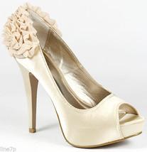 Champagne Gold Satin Raffle Fashion Peep Toe High Heel Platform Pump 10 us Qupid - $14.99