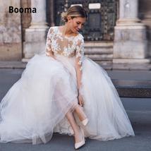New Elegant Lace on Nude Illusion A-line Fashion Wedding Dress image 6